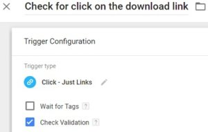 gtm virtual pageviews check for click on the download link