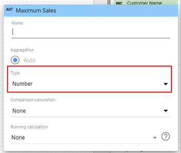 select the new data type for your chart specific calculated field