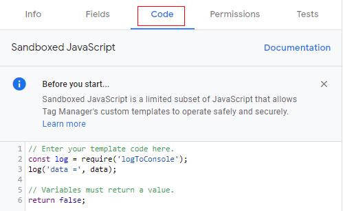 Code tab