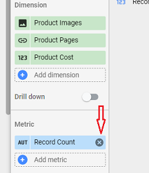Remove the Record count metric by clicking on the cross button next to it