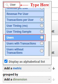 Select metric