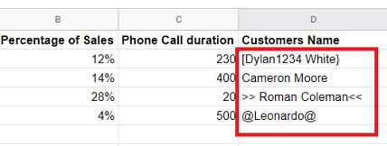 Text data type google sheets data source