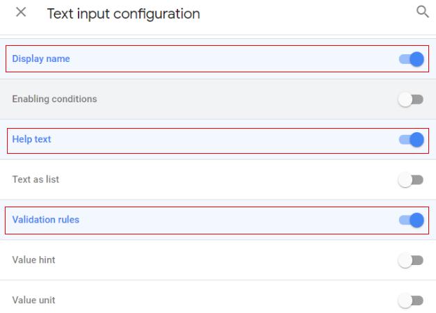Text input configuration