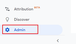 admin section google analytics