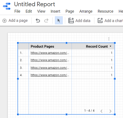 create a new table in your report