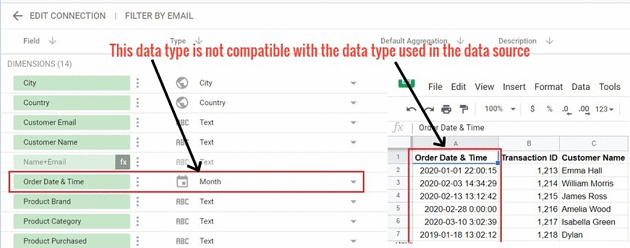 date and time data types Avoid changing date field type to an incompatible data type