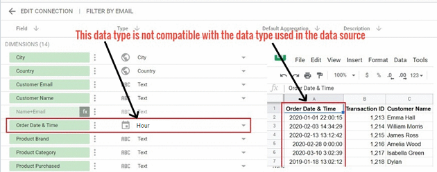 date and time data types Avoid changing time field type to an incompatible data type