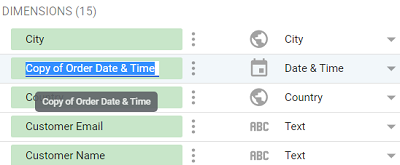 date and time data types Rename your data source schema field