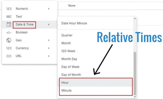 date and time data types data types for relative time in Google Data Studio 1