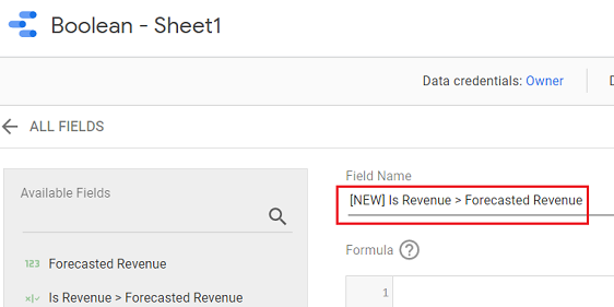 google data studio boolean data type Enter the name of your new calculated field