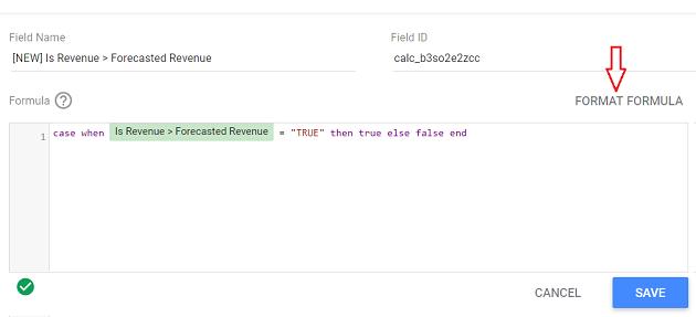 google data studio boolean data type FORMAT FORMULA 1