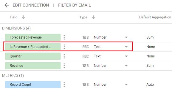 google data studio boolean data type Navigate to your data source schema editor