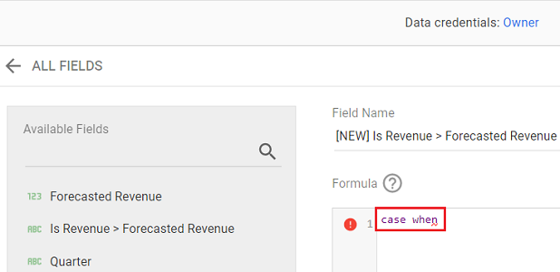 google data studio boolean data type Type the following text in the Formula field