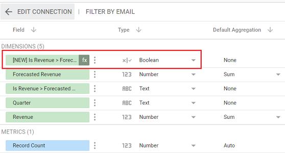 google data studio boolean data type new calculated field