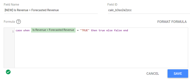 google data studio boolean data type type the following text in your formula field