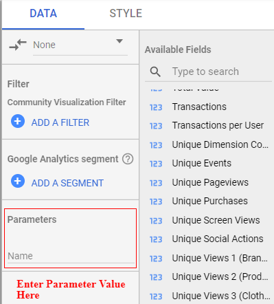 google data studio parameters component