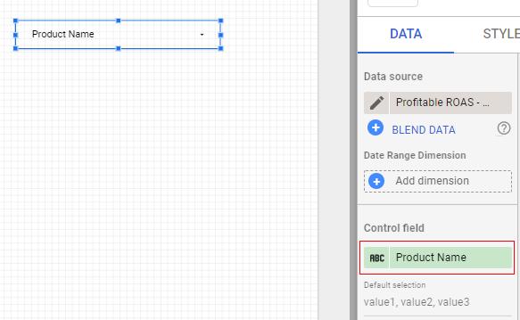 google data studio parameters control name