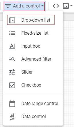 google data studio parameters drop down