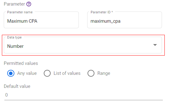 google data studio parameters parameter data type