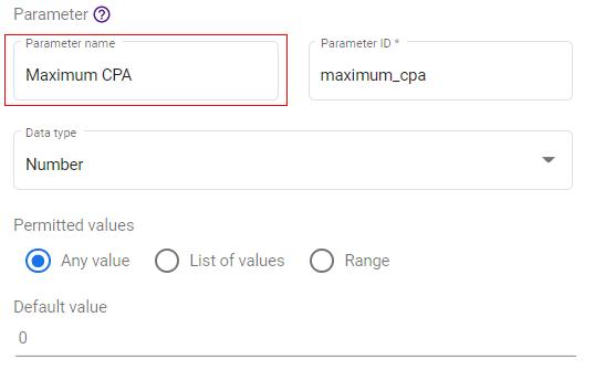 google data studio parameters parameter name
