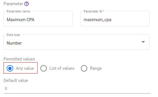 google data studio parameters parameter value option 1