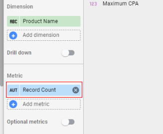 google data studio parameters remove record count