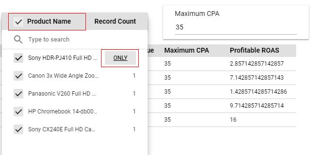 google data studio parameters select product
