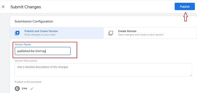 gtm publish button