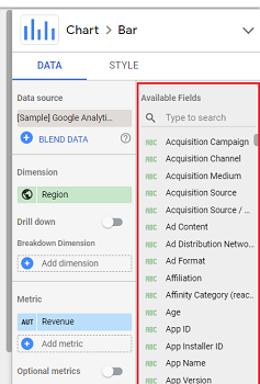 Available fields Property panel data studio