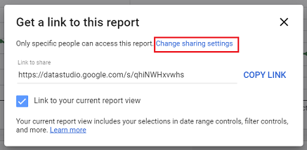 Change Sharing settings data studio