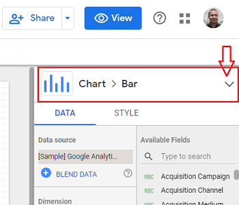 Change visualization type data studio