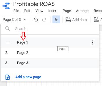 Google Data Studio Page Navigation