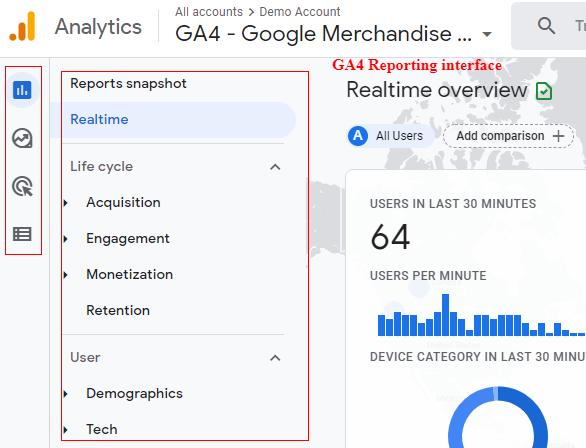 GA4 interface