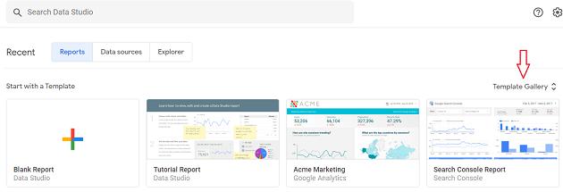 Google Data Studio template gallery