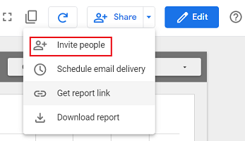 Invite people google data studio