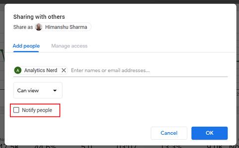 Notify people data studio