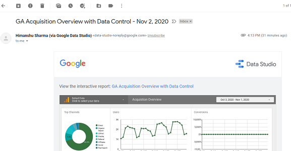 Schedule email delivery of a report google data studio