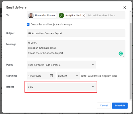 Set the delivery frequency for your email