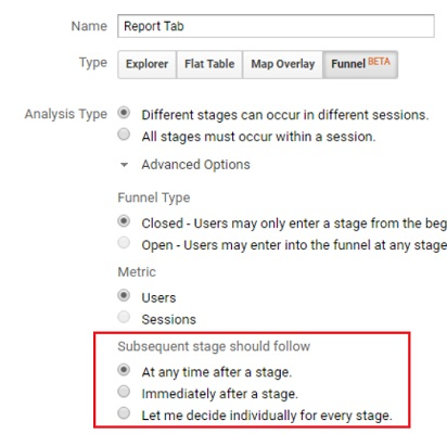 Subsequent stage should follow custom funnels analytics 360