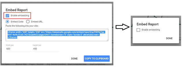 Uncheck Enable embedding