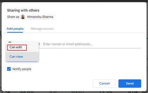 can edit permission google data studio