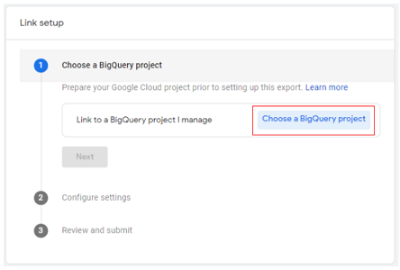 connect google analytics 4 with bigquery Choose a BigQuery project ga4