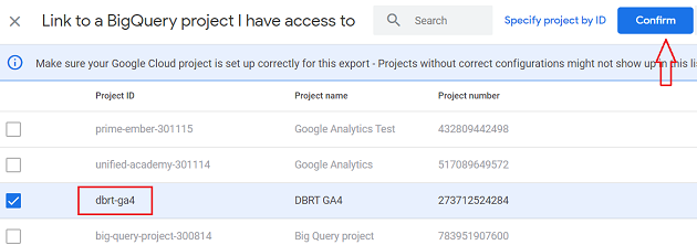 connect google analytics 4 with bigquery Confirm 1