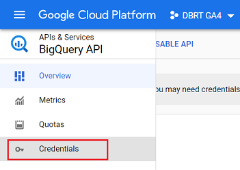 connect google analytics 4 with bigquery Credentials