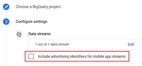 connect google analytics 4 with bigquery Include advertising identifiers for mobile app streams ga4