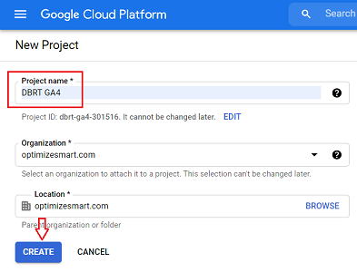 connect google analytics 4 with bigquery Name your new project 1