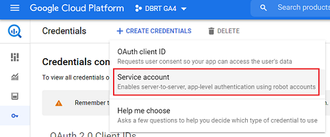 connect google analytics 4 with bigquery Service account 1