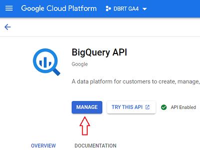 connect google analytics 4 with bigquery bigquery api manage 1