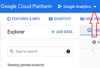 connect google analytics 4 with bigquery click on the drop down menu