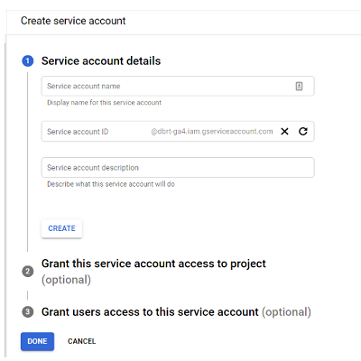 connect google analytics 4 with bigquery create service account 1